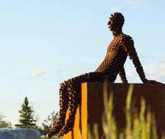 A View From the North - large, rust, male figure, corten steel outdoor sculpture