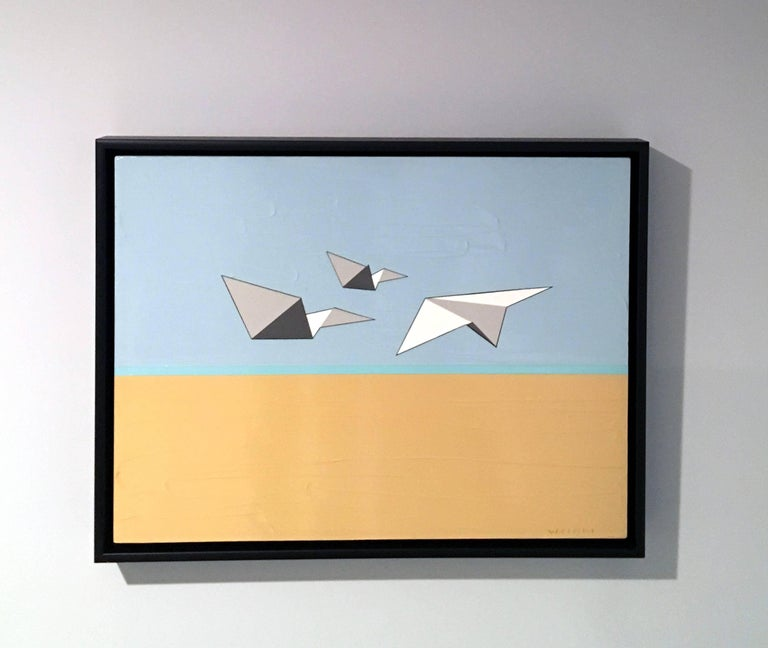 Away We Go, Oil, Acrylic, Paper Airplanes, Blue, White, Sky, Flying, Textured - Painting by Jason Wright