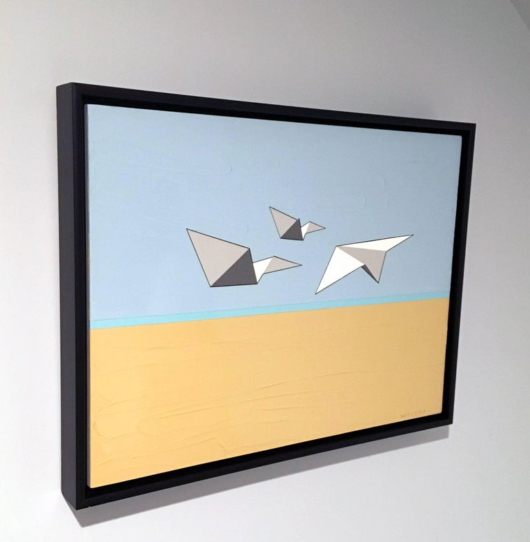 Away We Go, Oil, Acrylic, Paper Airplanes, Blue, White, Sky, Flying, Textured - Contemporary Painting by Jason Wright