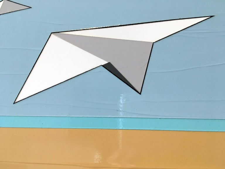 Away We Go, Oil, Acrylic, Paper Airplanes, Blue, White, Sky, Flying, Textured - Beige Landscape Painting by Jason Wright
