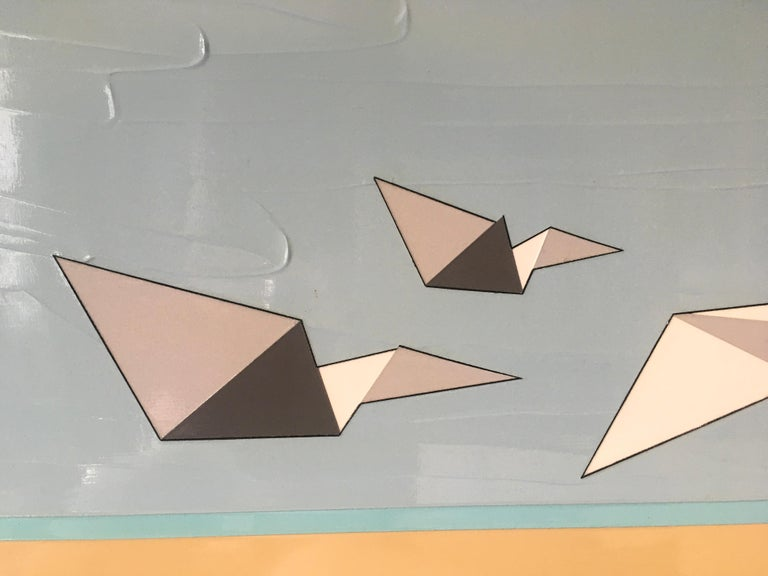 Away We Go is a thickly textured oil and acrylic painting of three paper airplanes soaring like birds.  It is by Hawaii artist, Jason Wright.  Jason Wright was born in the United States (1975).  He studied Painting and Graphic Design at the Corcoran