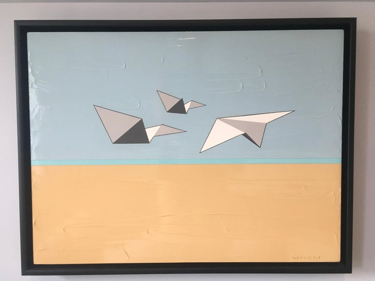 Jason Wright Landscape Painting - Away We Go, Oil, Acrylic, Paper Airplanes, Blue, White, Sky, Flying, Textured