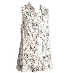 Jason Wu 2016 Resort Scribble Print Cotton Long Sleeveless Shirt Size 10.