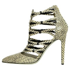 Jason Wu Black/White Speckled Strappy Watersnake Booties sz 39.5 rt. $1,395