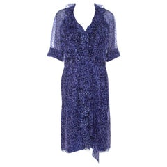 Jason Wu Purple Silk Chiffon Printed Ruffle Short Dress L