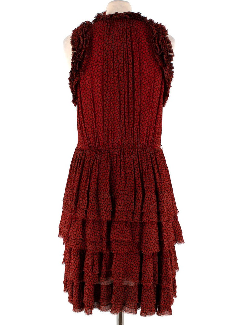 Jason Wu Red & Black Ruffled Printed Mini Dress 4 In New Condition For Sale In London, GB