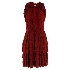 Jason Wu Red & Black Ruffled Printed Mini Dress 4