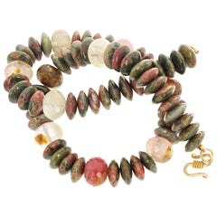 Gemjunky Natural Jasper and Agate and Quartz Necklace