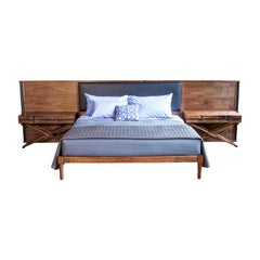 Jasper Bed in Oiled Walnut with Leather Upholstered Headboard and Side Tables
