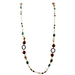Jasper, Carnelian, Black Agate,Pearls 9 Karat Rose Gold and Silver Long Necklace