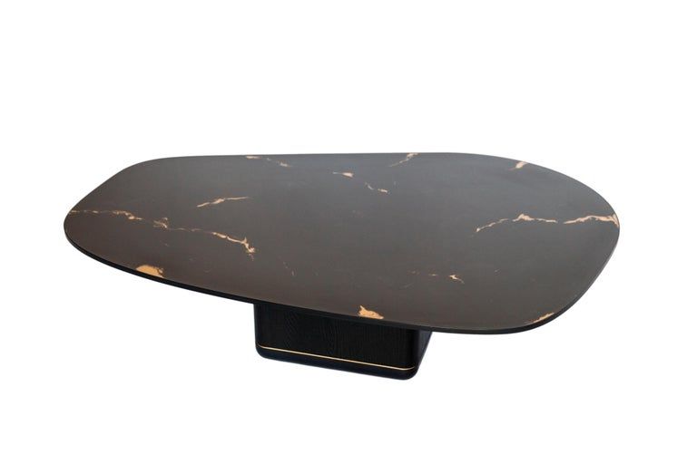American Jasper Coffee Table, Customizable Metal, Wood and Resin For Sale