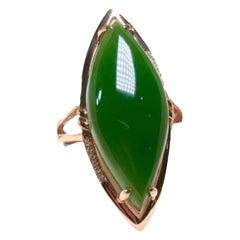 Jasper Diamond Ring 18 Karat Yellow Gold