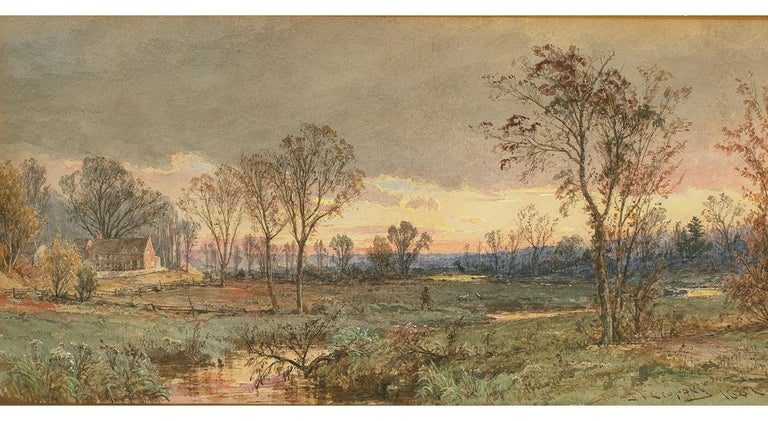 Jasper Francis Cropsey Landscape Painting - Twilight on the Sawmill River