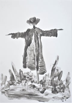 Jasper Hagenaar, Untitled (monotype in black and white of a scarecrow & plants)