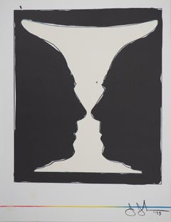 Cup with Two Picasso Profiles - Original lithograph (Mourlot 1973)