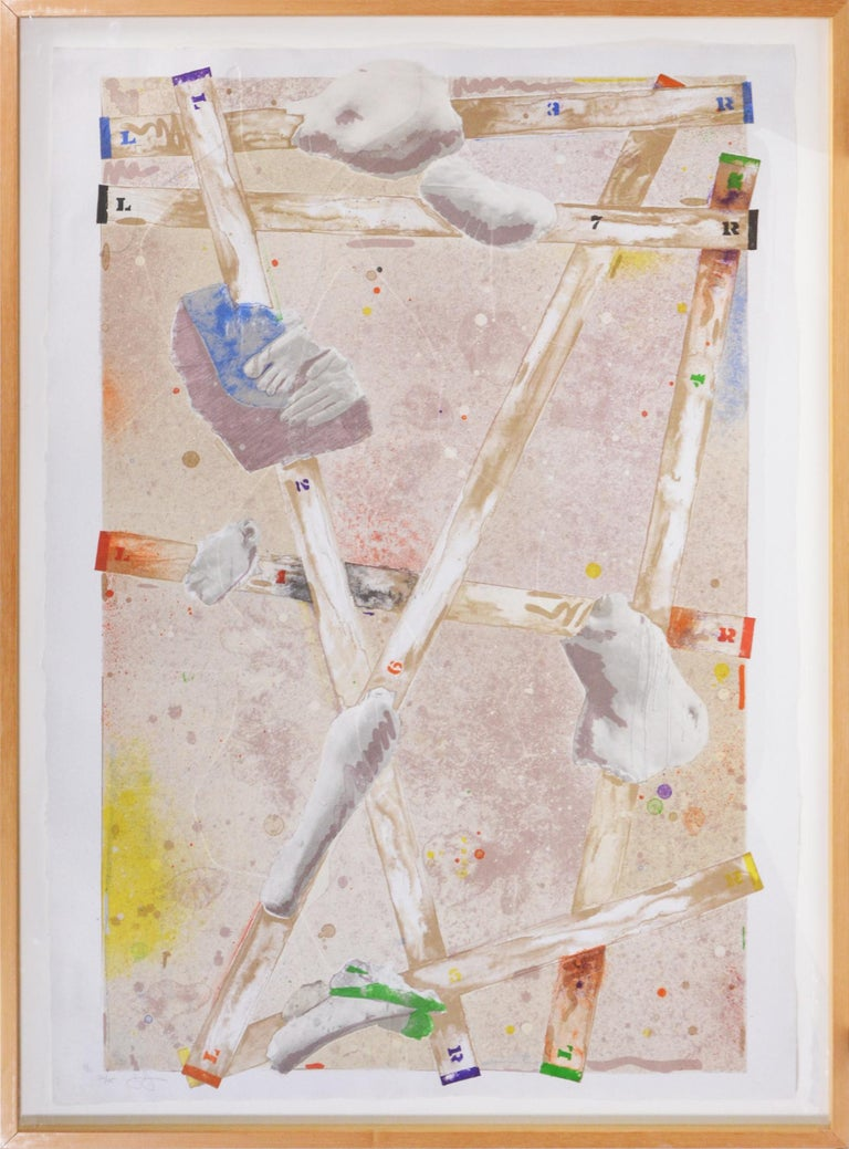 Jasper Johns, Four Panels from Untitled 1972 - Gray Abstract Print by Jasper Johns