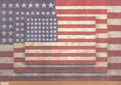 "Jasper Johns-Three Flags-25.75"" x 37""-Poster-2004-Pop Art-Blue, Red, White-usa"