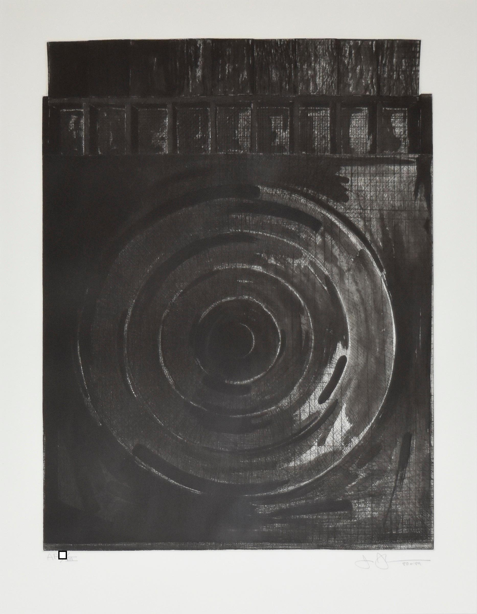 """""""Target With Plaster Cast Black and White"""" Drypoint Etching and Aquatint"""