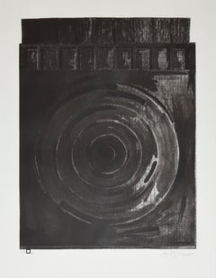 """Target With Plaster Cast Black and White"" Drypoint Etching and Aquatint"