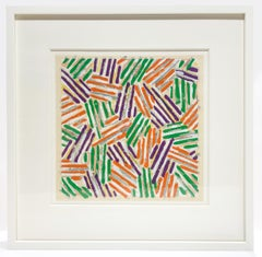 Untitled, Jasper Johns. Colorful rainbow hatching on parchment FRAMED