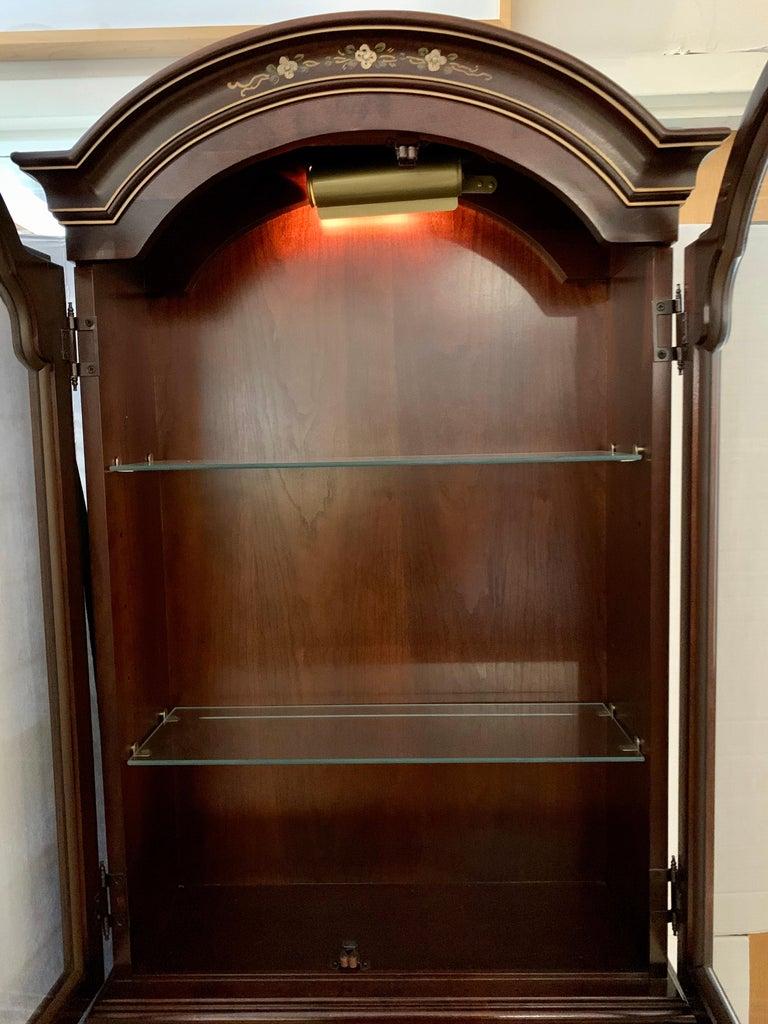 Mid-Century Modern Jasper Midcentury Chinoiserie Hand Painted Secretary Desk Display Cabinet For Sale
