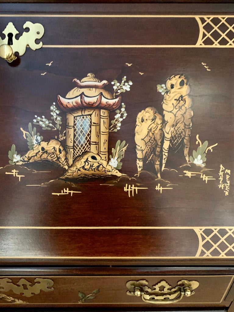 Jasper Midcentury Chinoiserie Hand Painted Secretary Desk Display Cabinet In Good Condition For Sale In West Hartford, CT