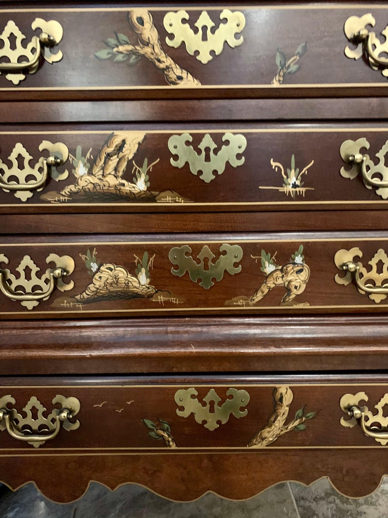 Late 20th Century Jasper Midcentury Chinoiserie Hand Painted Secretary Desk Display Cabinet For Sale