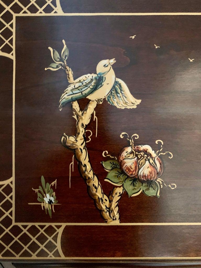 Jasper Midcentury Chinoiserie Hand Painted Secretary Desk Display Cabinet For Sale 1
