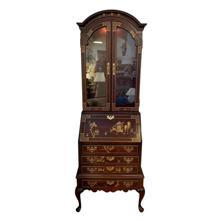 Jasper Midcentury Chinoiserie Hand Painted Secretary Desk Display Cabinet For Sale