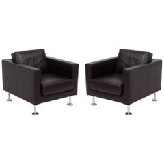 Jasper Morrison for Vitra Park Leather Armchairs, 2004, Set of 2