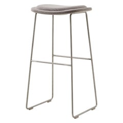 Jasper Morrison Large Hi Pad Bar Stool in Blue Hallingdal Fabric by Cappellini