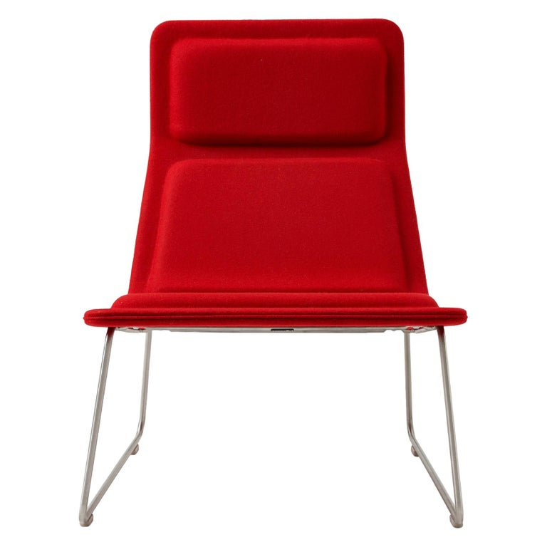 For Sale: Red (Hero - 809) Jasper Morrison Low Pad Armchair in Beech with Fabric or Leather for Cappellini