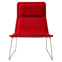 Jasper Morrison Low Pad Armchair in Beech with Red Hero Fabric for Cappellini