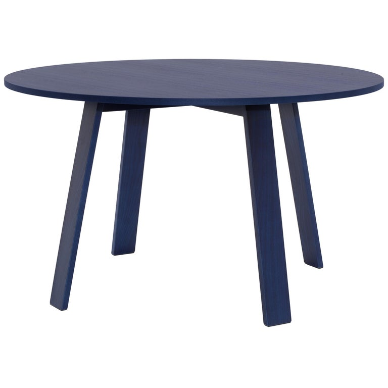 For Sale: Blue (118_Shanghai Blue Stained Ash) Jasper Morrison Round Bac Table in Solid Ashwood for Cappellini