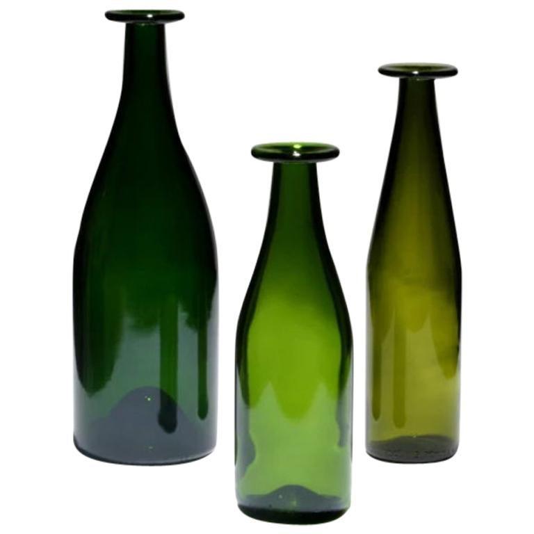 Jasper Morrison Set of 3 Green Bottle Vase in Glass for Cappellini For Sale