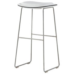 Jasper Morrison Small Hi Pad Stool in White Leather by Cappellini