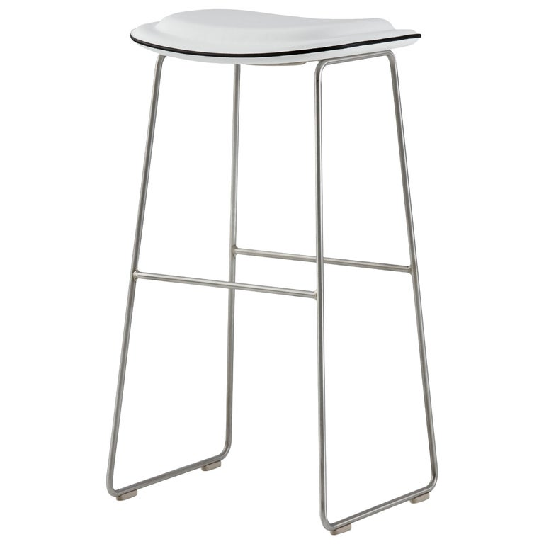 Jasper Morrison Small Hi Pad Stool in White Leather by Cappellini For Sale