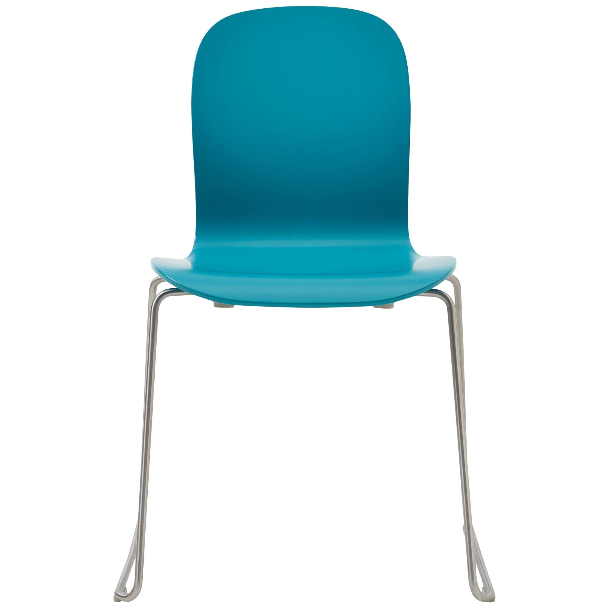 Jasper Morrison Tate Chair in Petrol Blue Matte Lacquer for Cappellini