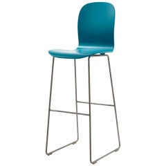 Jasper Morrison Tate Stool in Petrol Blue with Matte Lacquer for Cappellini