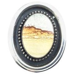 Jasper Owyhee Desert Scene Sterling Silver Pendant for Necklace