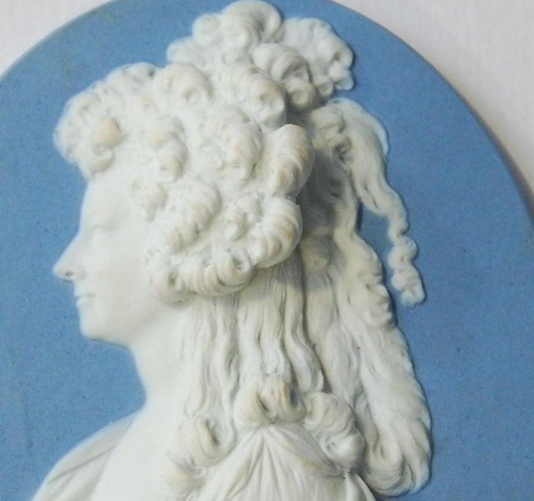 Neoclassical Jasperware Portrait Medallion, Princess de Lamballe, Wedgwood, circa 1790 For Sale