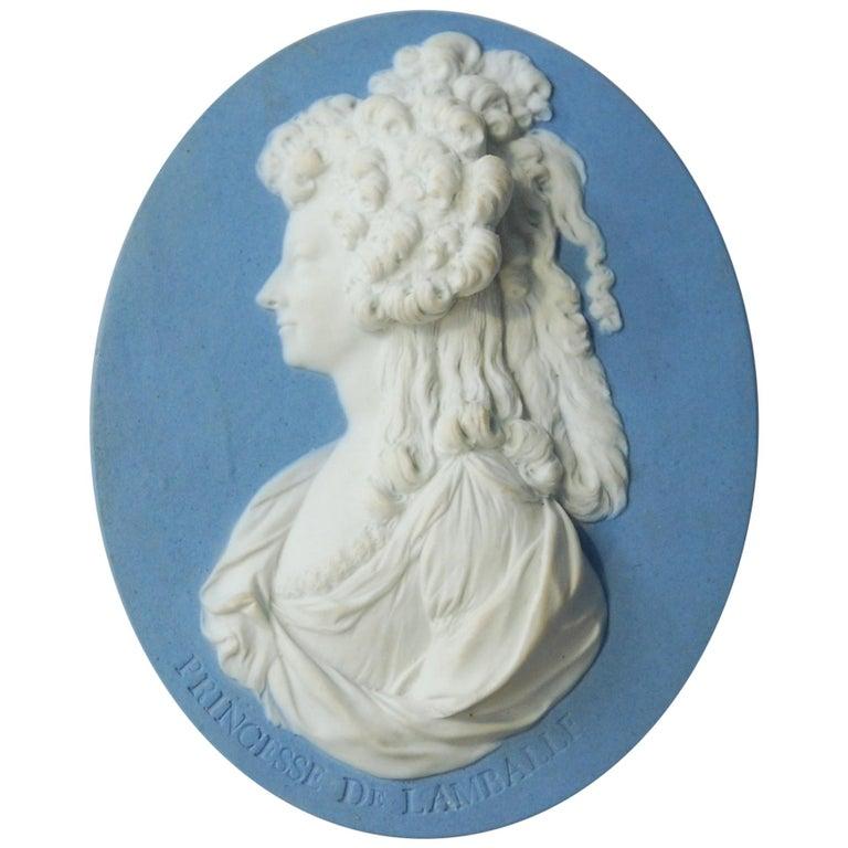 Jasperware Portrait Medallion, Princess de Lamballe, Wedgwood, circa 1790 For Sale