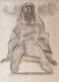 "Kneeled to the Earth, Charcoal on Paper, Black by Modern Artist ""In Stock"""