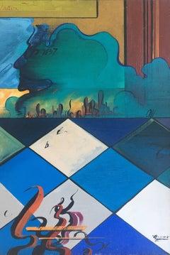 Chess original surrealist canvas acrylic painting