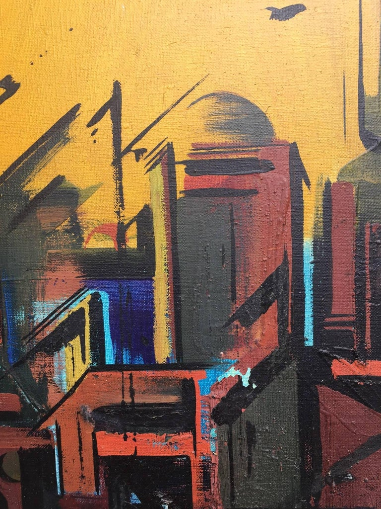 Citty original surrealist canvas acrylic painting - Painting by Jaume Genovart