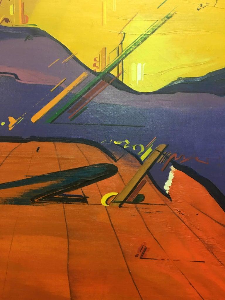 Sevilla original abstract acrylic painting - Brown Abstract Painting by Jaume Genovart