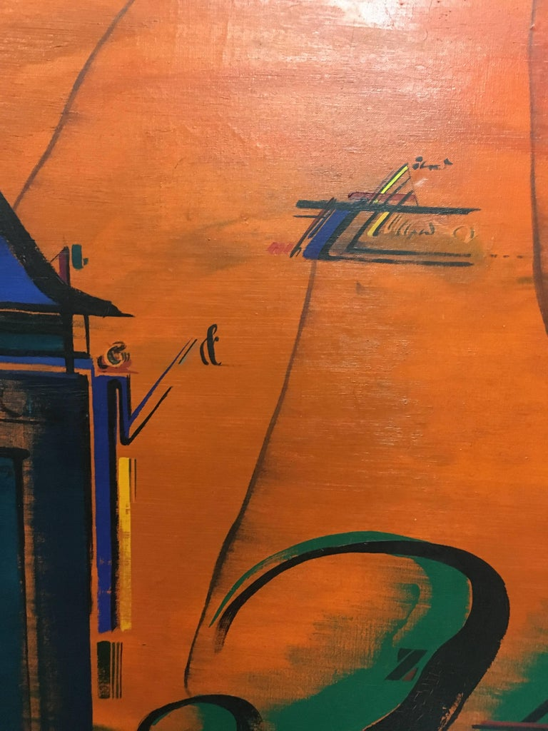 Sevilla original abstract acrylic painting  Guenovart, Jaume (Barcelona, 1941-1994).  Basically self - taught painter, was released in 1972. Grandson of typesetter and bookseller son, grew up in a world of passion for graphic art, calligraphy and