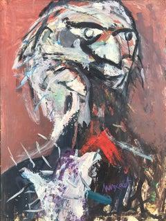 Bird man abstract original oil on canvas painting c.1980