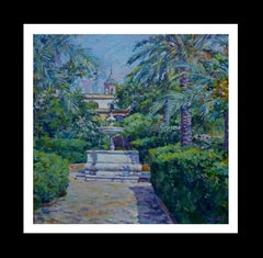 "YARD"" SEVILLA"" SPAIN original acrylic canvas painting"