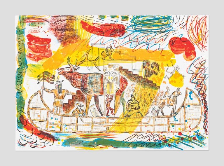 Jaune Quick-to-See Smith Abstract Print - Trade Canoe: A Western Fantasy,